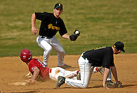21 April 2007: University of Hartford Hawks' Brady Stouffer, a Sophomore from Gaithersburg, MD, steals second base during a double-header against the University of Vermont Catamounts at Historic Centennial Field, in Burlington, Vermont...Mandatory Photo Credit: Ed Wolfstein Photo