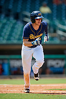 Montgomery Biscuits first baseman Dalton Kelly (9) runs to first base during a game against the Biloxi Shuckers on May 8, 2018 at Montgomery Riverwalk Stadium in Montgomery, Alabama.  Montgomery defeated Biloxi 10-5.  (Mike Janes/Four Seam Images)