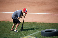 Batavia Muckdogs on field promotion, the dizzy bat tire race, during the first game of a doubleheader against the Williamsport Crosscutters on August 20, 2017 at Dwyer Stadium in Batavia, New York.  Batavia defeated Williamsport 6-5.  (Mike Janes/Four Seam Images)