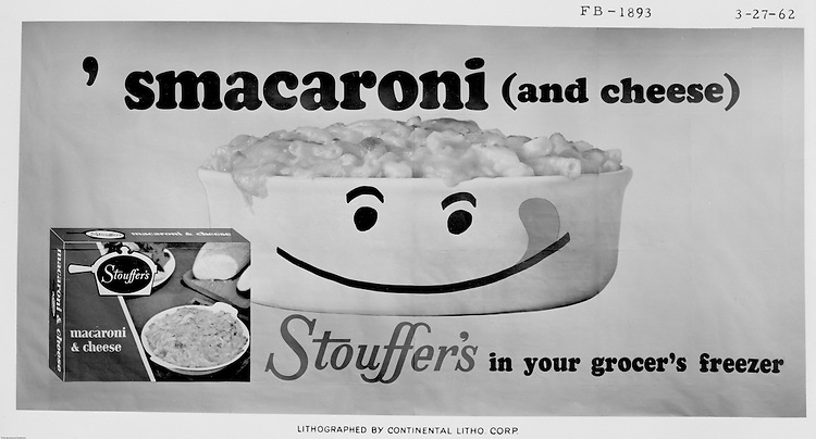 Client: Stouffers Foods<br /> Ad Agency: Ketchum, MacLeod & Grove<br /> Contact: Dana Gilpin<br /> Product: Stouffer's Macaroni and Cheese<br /> Location: Brady Stewart Studio, 725 Liberty Avenue in Pittsburgh   <br /> <br /> The Stouffer family's frozen food business began in the 1940s when customers started asking for frozen versions of the meals served in the restaurants. The Stouffers sold their company to Litton Industries in 1967, who in turn sold it to Nestlé in 1973. Nestle Foods has created a campus-like area at the headquarters in Solon, Ohio.