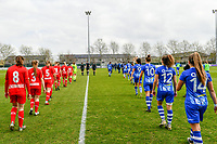 players entering the field before a female soccer game between  AA Gent Ladies and Standard Femina de Liege on the first matchday of play-off 1 of the  2020 - 2021 season of Belgian Scooore Womens Super League , saturday 3 th of April 2021  in Oostakker , Belgium . PHOTO SPORTPIX.BE | SPP | STIJN AUDOOREN