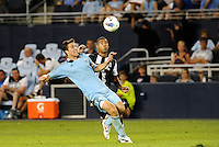 Matt Besler Sporting KC (pale blue) ,Leon Best Newcastle United watch the ball... Sporting Kansas City and Newcastle United played to a 0-0 tie in an international friendly at LIVESTRONG Sporting Park, Kansas City, Kansas.