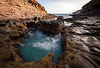 Ocean water pools in a spot known as the Toilet Bowl in Hawai'i Kai, Southeast O'ahu.