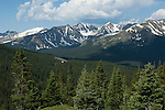 Summer scenic of subalpine coniferous forest from Specimen Mountain, looking toward the Never Summer Mountains, Little Yellowstone, NW corner of Rocky Mountain National Park, Colorado