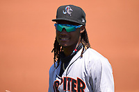 Jupiter Hammerheads Osiris Johnson (3) during warmups before a game against the St. Lucie Mets on May 5, 2021 at Clover Park in St. Lucie, Florida.  (Mike Janes/Four Seam Images)