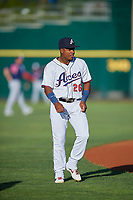 Domingo Leyba (26) of the Reno Aces before the game against the Nashville Sounds at Greater Nevada Field on June 5, 2019 in Reno, Nevada. The Aces defeated the Sounds 3-2. (Stephen Smith/Four Seam Images)