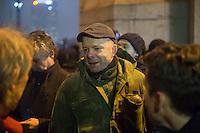 """Etwa 200 Anhaenger des Berliner Ablegers rechten Pegida-Bewegung, Baergida, versammelten sich am Montag den 5. Januar 2015 in Berlin zu einer Demonstration gegen eine angebliche Islamisierung Deutschlands und dagegen, dass """"in 30 Jahren in Deutschland die Sharia herrscht"""", so der Organisator Karl Schmitt.Bis zu 5.000 Menschen protestierten gegen den rechten Ausmarsch und blockierten bei Regen die Marschroute mehrere Stunden. Die Polizei schaffte es nicht mit koerperlicher Gewalt die Blockade zu beenden, so dass die Rechten nach drei Stunden nach Hause gehen mussten. Die Baergida-Anhaenger, """"Berlin gegen die Islamisierung des Abendlandes"""", feierten dies aber dennoch als Sieg. Waren zur ersten Baergida-Aktion eine Woche zuvor nur 5 Menschen gekommen.<br /> Unter den Anhaengern von Baergida waren viele bekannte militante Neonazis und Hooligans sowie Mitglieder der Rechtsparteien AfD und Pro Deutschland und der rechtsradikalen German Defense League. Immer wieder wurde skandiert """"Luegenpresse, auf die Fresse"""" und dass die Journalisten nach Israel verschwinden sollen.<br /> Im Bild: Der Rechtsradikale und Anmelder der auslaenderfeindlichen sog. """"Montagsdemos"""" in Berlin-Marzahn, Rene Uttke.<br /> 5.1.2015, Berlin<br /> Copyright: Christian-Ditsch.de<br /> [Inhaltsveraendernde Manipulation des Fotos nur nach ausdruecklicher Genehmigung des Fotografen. Vereinbarungen ueber Abtretung von Persoenlichkeitsrechten/Model Release der abgebildeten Person/Personen liegen nicht vor. NO MODEL RELEASE! Nur fuer Redaktionelle Zwecke. Don't publish without copyright Christian-Ditsch.de, Veroeffentlichung nur mit Fotografennennung, sowie gegen Honorar, MwSt. und Beleg. Konto: I N G - D i B a, IBAN DE58500105175400192269, BIC INGDDEFFXXX, Kontakt: post@christian-ditsch.de<br /> Bei der Bearbeitung der Dateiinformationen darf die Urheberkennzeichnung in den EXIF- und  IPTC-Daten nicht entfernt werden, diese sind in digitalen Medien nach §95c UrhG rechtlich geschuetzt. Der Urhebervermerk wir"""