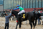 HOT SPRINGS, AR - JANUARY 16: Channing Hill abourd Uncontested #6 being congratulated after winning the running of the Smarty Jones Stakes at Oaklawn Park on January 16, 2017 in Hot Springs, Arkansas. (Photo by Justin Manning/Elipse Sportwire/Getty Images)