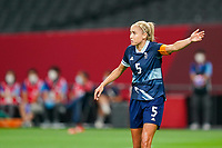 21st July 2021; Sapporo, Japan; Captain Steph Houghton Great Britain directs her team during the womens Olympic Football Tournament Tokyo 2020 match between Great Britain and Chile at Sapporo Dome in Sapporo, Japan. Great Britain won the game by a score of 2-0