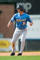 Myrtle Beach center fielder Jordan Schafer (5) takes his lead off of second base versus Winston-Salem at Ernie Shore Field in Winston-Salem, NC, Monday, May 28, 2007.