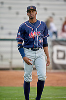 Ernesto Martinez (46) of the Rocky Mountain Vibes before the game against the Ogden Raptors at Lindquist Field on July 4, 2019 in Ogden, Utah. The Raptors defeated the Vibes 4-2. (Stephen Smith/Four Seam Images)