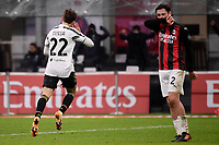Federico Chiesa of Juventus FC celebrates after scoring the goal of 1-2 during the Serie A football match between AC Milan and Juventus FC at San Siro Stadium in Milano  (Italy), January 6th, 2021. Photo Federico Tardito / Insidefoto