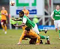 22/01/2011   Copyright  Pic : James Stewart.sct_jsp019_motherwell_v_hibernian  .:: FRANCIS DICKOH IS BROUGHT DOWN BY JOHN SUTTON ::.James Stewart Photography 19 Carronlea Drive, Falkirk. FK2 8DN      Vat Reg No. 607 6932 25.Telephone      : +44 (0)1324 570291 .Mobile              : +44 (0)7721 416997.E-mail  :  jim@jspa.co.uk.If you require further information then contact Jim Stewart on any of the numbers above.........