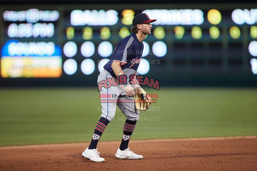 Nashville Sounds shortstop Jake Hager (19) on defense against the Charlotte Knights at Truist Field on June 4, 2021 in Charlotte, North Carolina. (Brian Westerholt/Four Seam Images)