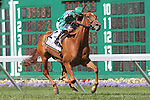 August 2, 2015. Casual Smile, Abel Castellano up, wins the Grade III WinStar Matchmaker Stakes, one and 1/8 miles on the turf for fillies and mares three years old and upward at Monmouth Park in Oceanport, NJ.  Trainer is Chad Brown; owner is William Farish. Joan Fairman Kanes/ESW/CSM