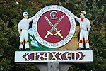 Great Britain, England, Essex, Thaxted: Village name sign with 2 Morris Dancers