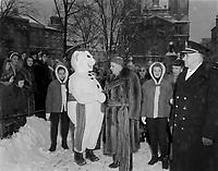 Bonhomme Carnaval durant Le Festival de Quebec vers 1960<br /> <br /> <br /> PHOTO  : Agence Quebec Presse
