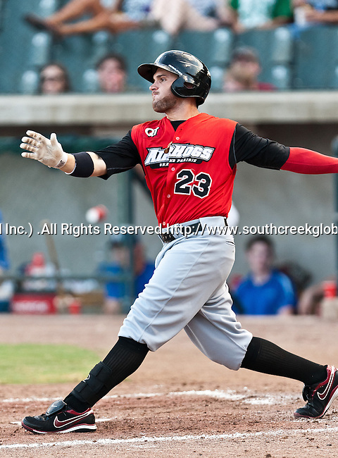Grand Prairie AirHogs 1st Baseman John Alonso (23) in action during the American Association of Independant Professional Baseball game between the Grand Prairie AirHogs and the Fort Worth Cats at the historic LaGrave Baseball Field in Fort Worth, Tx. Fort Worth defeats Grand Prairie 8 to 7...