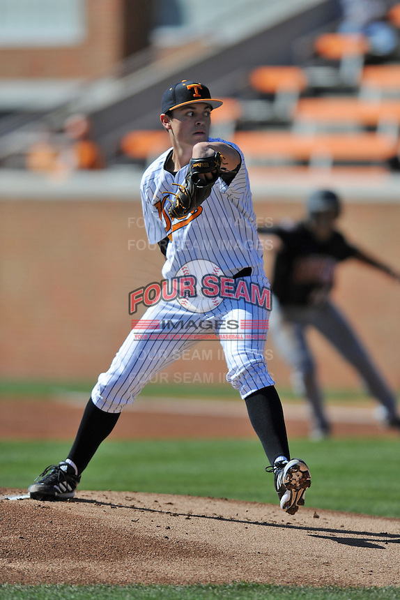 Starting Pitcher Kyle Serrano #11 of the Tennessee Volunteers delivers a pitch during a game against the UNLV Runnin' Rebels at Lindsey Nelson Stadium on February 22, 2014 in Knoxville, Tennessee. The Volunteers defeated the Rebels 5-4. (Tony Farlow/Four Seam Images)