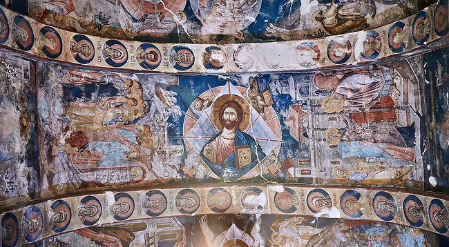 Pictures & images of the interior frescoes on the barrel vaulted roof of of Ubisa St. George Georgian Orthodox medieval monastery, Georgia (country)<br /> <br /> The 14th century lavish interior frescoes were painted by Gerasim in a local style known as Palaeologus  following Byzantine influences.