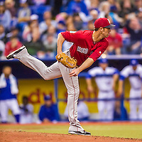2 April 2016: Boston Red Sox pitcher Tommy Layne on the mound during a pre-season exhibition game against the Toronto Blue Jays at Olympic Stadium in Montreal, Quebec, Canada. The Red Sox defeated the Blue Jays 7-4 in the second of two MLB weekend games, which saw a two-game series attendance of 106,102 at the former home on the Montreal Expos. Mandatory Credit: Ed Wolfstein Photo *** RAW (NEF) Image File Available ***