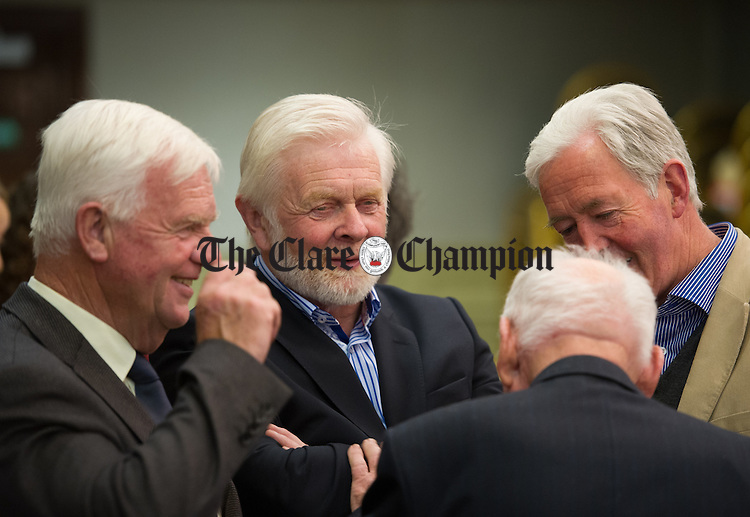 Oliver Garry of Fine Gael with Christy Curtin ,independent, Martin Lafferty and Johnny Hill during the election count at The West county Hotel, Ennis. Photograph by John Kelly.