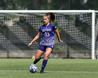 NEWTON, MA - SEPTEMBER 12: Ashley Blaka #33 of Holy Cross passes the ball during a game between Holy Cross and Boston College at Newton Campus Soccer Field on September 12, 2021 in Newton, Massachusetts.