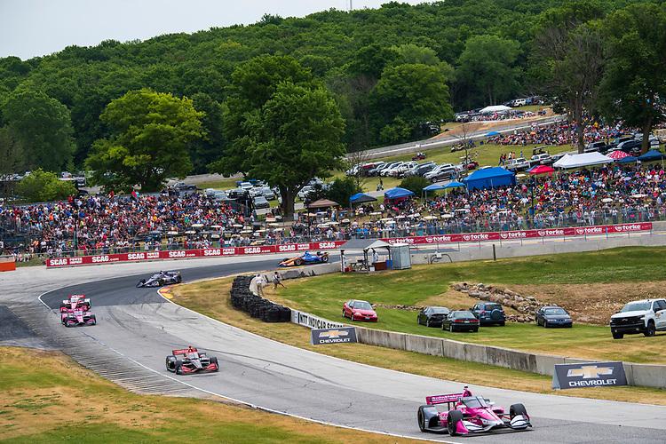 #27: Alexander Rossi, Andretti Autosport Honda, #12: Will Power, Team Penske Chevrolet, #60: Jack Harvey, Meyer Shank Racing Honda, #8: Marcus Ericsson, Chip Ganassi Racing Honda, fans