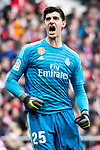 Thibaut Courtois of Real Madrid celebrating a goal during La Liga match between Atletico de Madrid and Real Madrid at Wanda Metropolitano in Madrid Spain. February 09, 2018. (ALTERPHOTOS/Borja B.Hojas)
