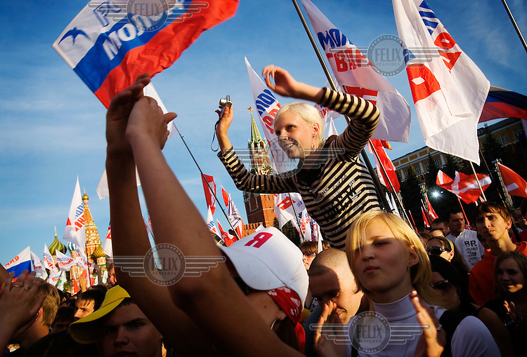 Nashi members, an organisation of youth activists said to be bankrolled by the Kremlim, gather at the Red Square in Moscow to demonstrate during Russia Day, a recently-created holiday celebrating the independence of Russia from Communism. .© Justin Jin