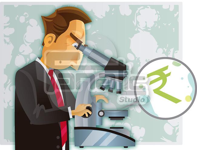 Businessman examining rupee symbol through a microscope