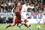 Real Madrid's Danilo da Silva (r) and AS Roma's Lucas Digne (l) and Stephan El Shaarawy during UEFA Champions League match. March 8,2016. (ALTERPHOTOS/Acero)