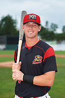 Batavia Muckdogs David Gauntt (7) poses for a photo before a game against the Tri-City ValleyCats on July 15, 2017 at Dwyer Stadium in Batavia, New York.  Tri-City defeated Batavia 5-4.  (Mike Janes/Four Seam Images)