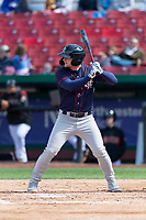 Cedar Rapids Kernels left fielder Jacob Pearson (2) during a Midwest League game against the Kane County Cougars at Northwestern Medicine Field on April 28, 2019 in Geneva, Illinois. Kane County defeated Cedar Rapids 3-2 in game one of a doubleheader. (Zachary Lucy/Four Seam Images)