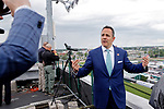 LOUISVILLE, KY - MAY 06: Kentucky Governor Matt Bevin records a video from the rooftop of Churchill Downs before the American Turf Stakes on Kentucky Derby Day on May 6, 2017 in Louisville, Kentucky. (Photo by Jon Durr/Eclipse Sportswire/Getty Images)