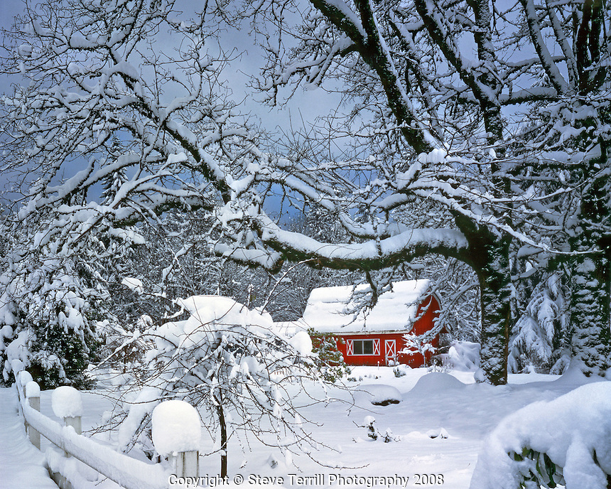 USA, Oregon, Snow surrounding red barn near the town of Brightwood in Clackamas County