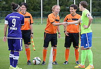 20150904 - TUBIZE , BELGIUM : referees and captains pictured with Pauline Crammer (left) , Elke Meers (right) , Valerie Uyttersprot , Lois Otte and Berengere Pierart  before a soccer match between the women teams of RSC Anderlecht and KRC Genk Ladies  , on the second matchday of the 2015-2016 SUPERLEAGUE season, Friday 4  September 2015 . PHOTO DAVID CATRY