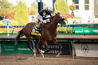 5th September 202, Louisville, KY, USA; Authentic and jockey John Velazquez (18) heads to the finish line to win the 146th Kentucky Derby on September 5, 2020 at Churchill Downs in Louisville, KY.