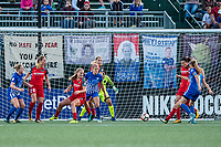 Boston, MA - Sunday September 10, 2017: Boston Breakers make a shot on goal during a regular season National Women's Soccer League (NWSL) match between the Boston Breakers and Portland Thorns FC at Jordan Field.