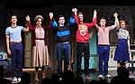 """Michael Hsu Rosen, Mercedes Ruehl, Michael Urie, Ward Horton, Jack DiFalco and Roxanna Hope Radja  during the Broadway Opening Night Curtain Call for """"Torch Song"""" at the Hayes Theater on November 1, 2018 in New York City."""