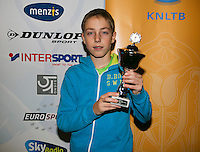 01-12-13,Netherlands, Almere,  National Tennis Center, Tennis, Winter Youth Circuit, Boys 16 years ,5 th place :  Sander Jong<br /> Photo: Henk Koster