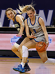 March 13, 2021— Jessi Giles #1 of Dakota State (S.D.) keeps the ball from Reed Hazard #22 of Providence (Mont.) during NAIA Women's Opening Championship Rounds at Sokol Arena in Omaha, Nebraska (Photo by Richard Carlson/inertia)