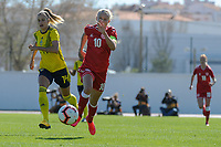 20200307  Lagos , Portugal : Swedish Nathalie Bjorn (14) , Danish forward Pernille Harder (10) pictured during the female football game between the national teams of Sweden and Denmark on the second matchday of the Algarve Cup 2020 , a prestigious friendly womensoccer tournament in Portugal , on saturday 7 th March 2020 in Lagos , Portugal . PHOTO SPORTPIX.BE | STIJN AUDOOREN