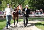 16 August 2008: Trainer Larry Jones (R)  walks Proud Spell in the paddock before the Grade 1 Alabama Stakes at Saratoga Race Course in Saratoga Springs, New York.  Proud Spell turned the tables on 2-5 favorite Music Note to win the 128th running of the race.