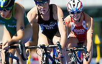 24 JUL 2014 - GLASGOW, GBR - Ellen Pennock (CAN) (right) from Canada drafts Kate Mcilroy (NZL) (centre) from New Zealand and Ashleigh Gentle (AUS) (left) from Australia on the bike during the elite women's 2014 Commonwealth Games triathlon in Strathclyde Country Park, in Glasgow, Scotland (PHOTO COPYRIGHT © 2014 NIGEL FARROW, ALL RIGHTS RESERVED)<br /> *******************************<br /> COMMONWEALTH GAMES <br /> FEDERATION USAGE <br /> RULES APPLY<br /> *******************************