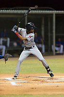 AZL Indians 2 second baseman Gionti Turner (10) at bat during an Arizona League game against the AZL Cubs 2 at Sloan Park on August 2, 2018 in Mesa, Arizona. The AZL Indians 2 defeated the AZL Cubs 2 by a score of 9-8. (Zachary Lucy/Four Seam Images)