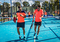 Netherlands, September 6,  2020, Amsterdam, Padel Dam, NK Padel, National Padel Championships, Men's doubles final: Uriël Maarsen (NED) and Bram Meijer (NED) (L)<br /> Photo: Henk Koster/tennisimages.com