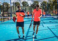 Netherlands, September 6,  2020, Amsterdam, Padel Dam, NK Padel, National Padel Championships, Men's doubles final: Uriël Maarsen (NED) and Bram Meijer (NED) (L)<br /> Photo: Henk Koster/tennisimages.com