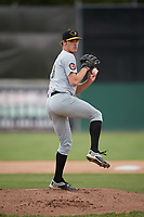 West Virginia Black Bears starting pitcher Ike Schlabach (28) delivers a warmup pitch during a game against the Batavia Muckdogs on June 25, 2017 at Dwyer Stadium in Batavia, New York.  Batavia defeated West Virginia 4-1 in nine innings of a scheduled seven inning game.  (Mike Janes/Four Seam Images)