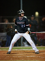 Riverview Rams Cole Griffith (24) bats during a game against the Sarasota Sailors on February 19, 2021 at Rams Baseball Complex in Sarasota, Florida. (Mike Janes/Four Seam Images)